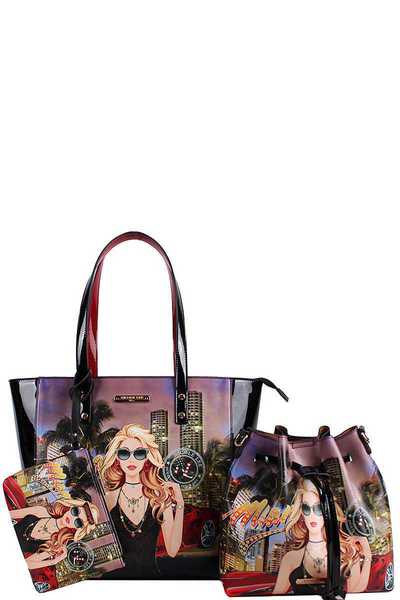 Nicole Lee 3IN1 DESIGNER CHIC SHOPPER WITH LONG STRAP