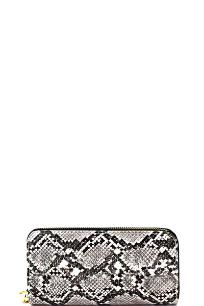 Snake Print Single Zip-Around Wallet