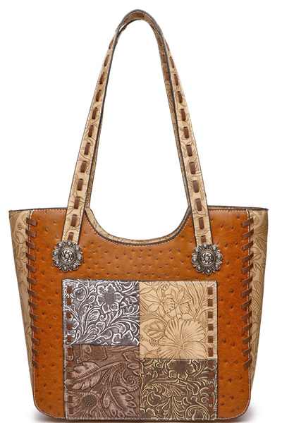 Western Embossed Flower Patchwork Ostrich Shopper Tote