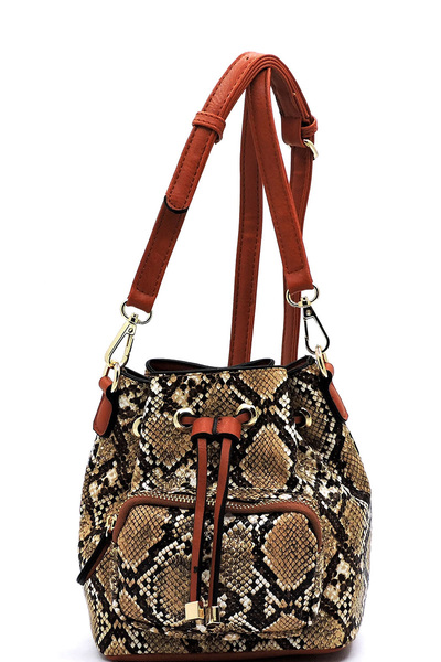 Python Snake Skin Drawstring Bucket Crossbody Bag