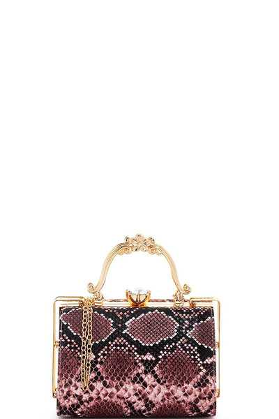 CUTE PYTHON SKIN STRUCTURED MODERN CLUTCH SHOULDER BAG