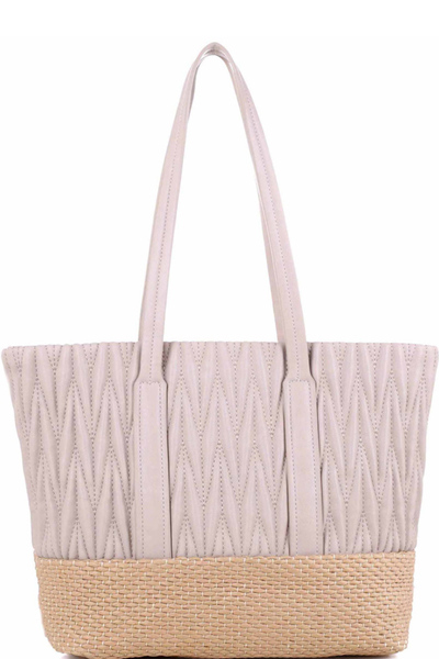 Woven Straw Mixed-Material Quilted Large Tote