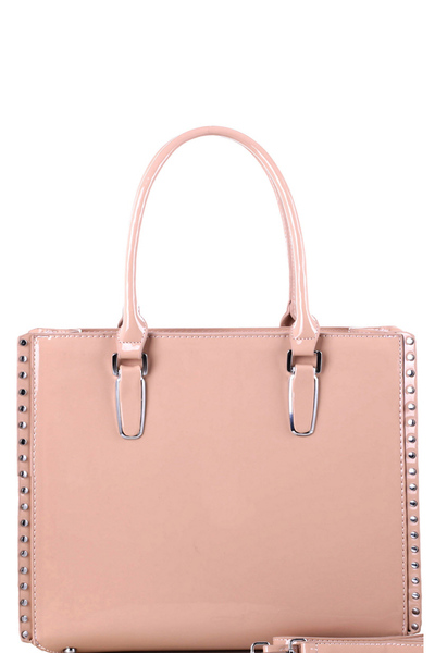 Stud Accent Patent Classy 2-Way Tote