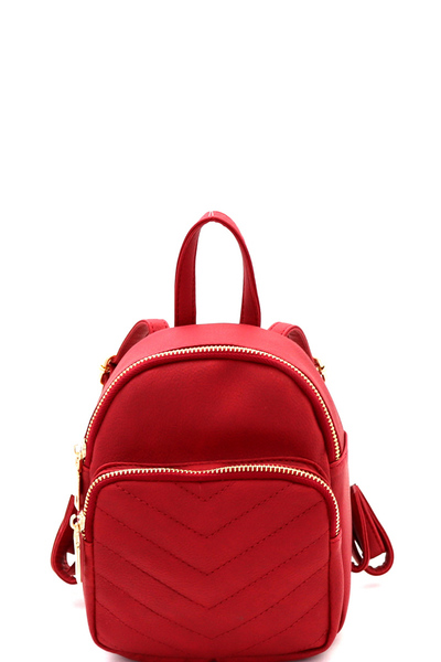Chevron Quilted Fashion Mini Backpack