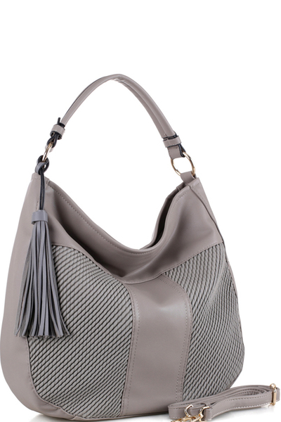 Tassel Accent Embossed Detail 2-Way Hobo