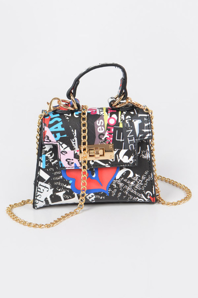 Letter Print Mini Handle Bag