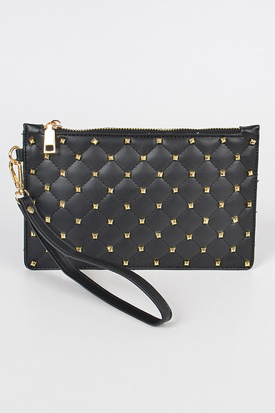 Quilted Studded Pouch W/wrist Band