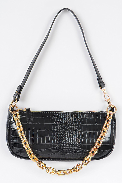 Rectangle Shape Chain Layered Shoulder Bag
