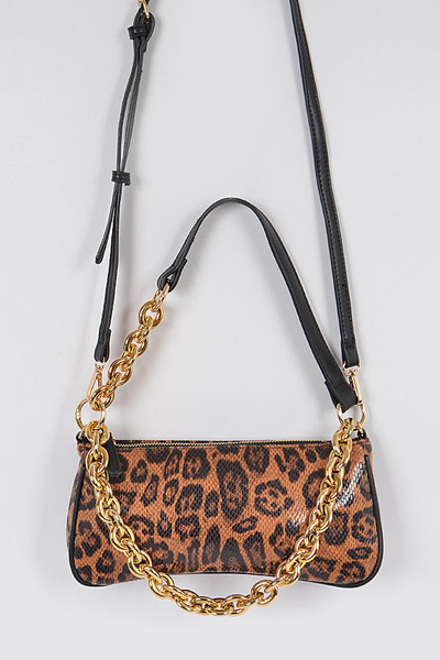 Leo Print Simple Clutch W/chain