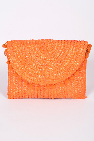 Simple Colored Puff Balls Clutch