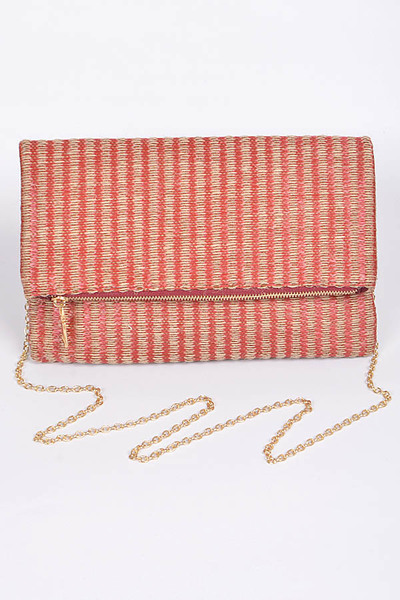 Lovely Straw Clutch With Zipper