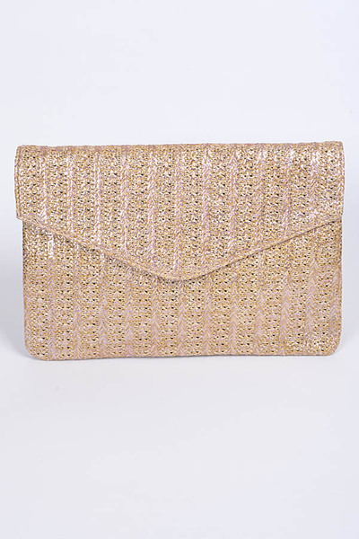 Shiny Envelope Straw Clutch