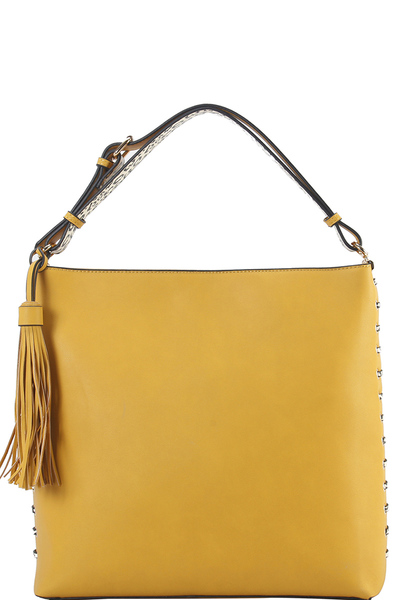 Accented with Studs and Tassel Handbag