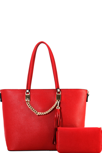 Tassel Chain Accent 2-Way Shopper Tote Wallet SET