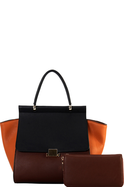 Color Block 2-Way Wing Flap Satchel Wallet SET