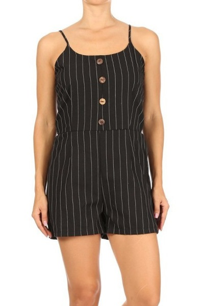 Womens Spaghetti Strap Rompers With A Smocked Back & Front Buttons Detail