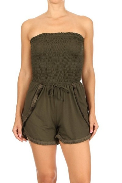 Womens Smocked Tube Top Rompers With Overlap Fringe Trim