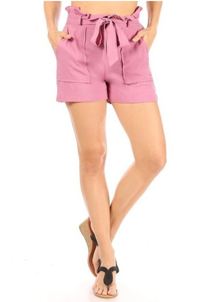 Womens Paperbag Waist Shorts With Belt & Pockets