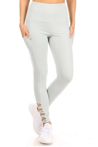 Womens High Waist Tummy Control Sports Leggings With Side Pocket & Cross Strap Detail