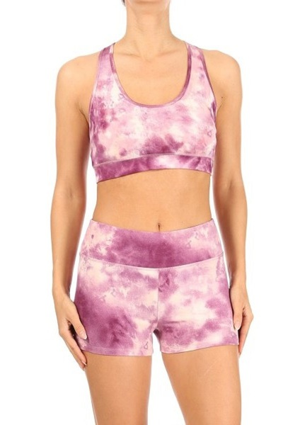 Womens 2-Piece Sets Strappy Sports Bra Tops & High Rise Hot Shorts