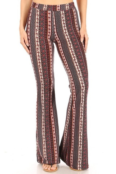 Womens Soft Brushed Printed Flare Pants