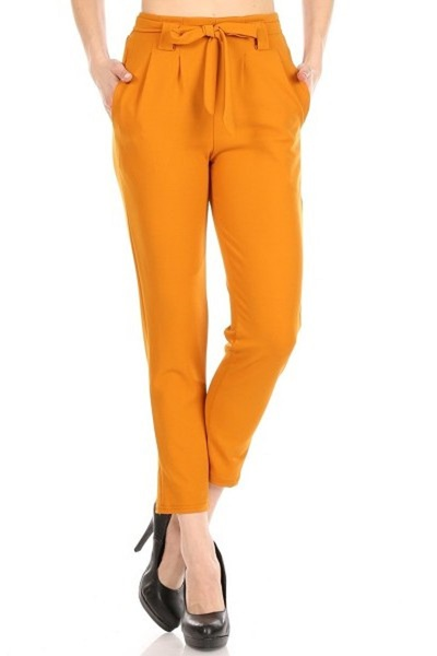 Womens Paperbag Waist Pants With Waist Tie