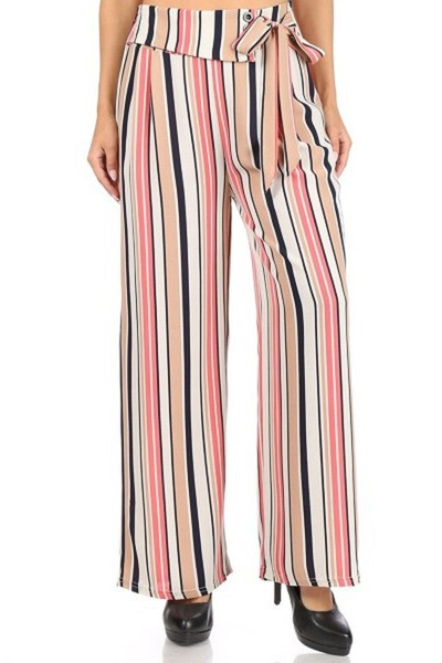 Womens Wide Leg Palazzo Pants With Waist Tie & Button Detail
