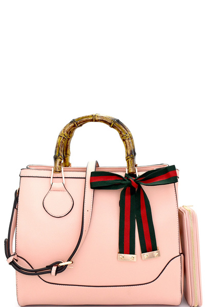 Striped Bow Accent Bamboo Handle Satchel Wallet SET