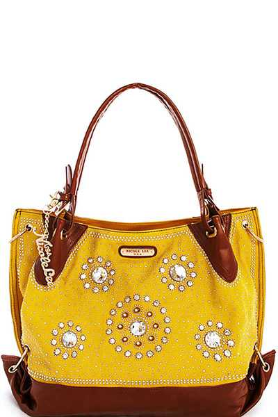 Nicole Lee RHINESTONE SATCHEL WITH LONG STRAP