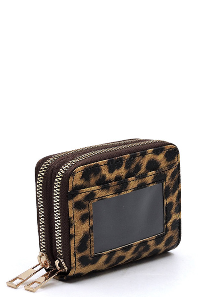 Saffiano Accordion Card Holder Double Zip Wallet