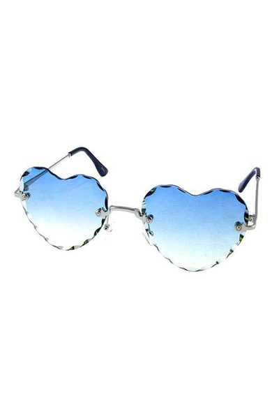 Womens rimless heart metal retro sunglasses
