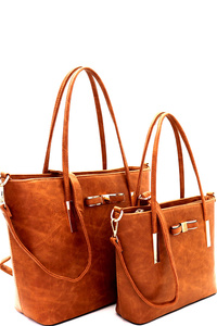 Bow Accent Twin Shopper Tote SET