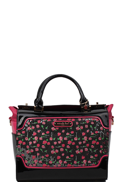 NICOLE LEE Imogen Flower Sequins Print Mini Handbag