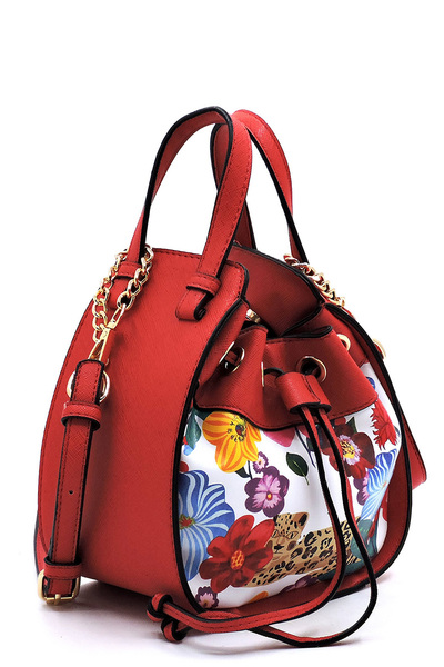 Flower Leopard Drawstring Convertible Satchel