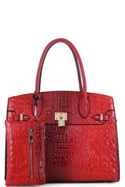 2in1 Chic Croco Pattern Classy Satchel with Long Strap
