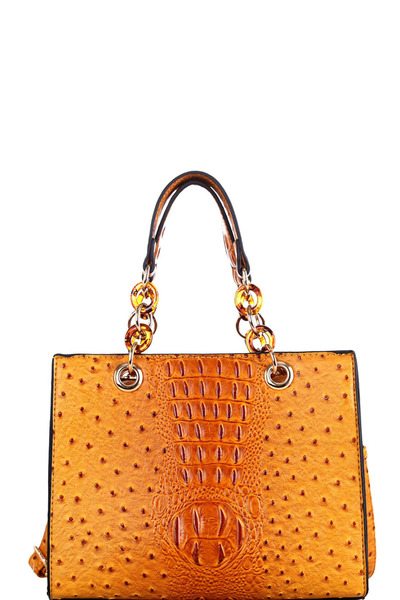 Ostrich Print Linked Chain Accent Strap 2 Way Medium Satchel