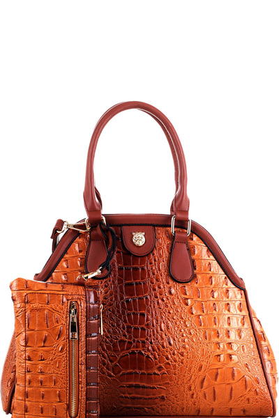 Tiger Charm Crocodile Embossed 2 in 1 Dome Satchel SET