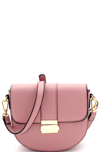 Pinch-Lock Flap Saddle Cross Body Shoulder Bag