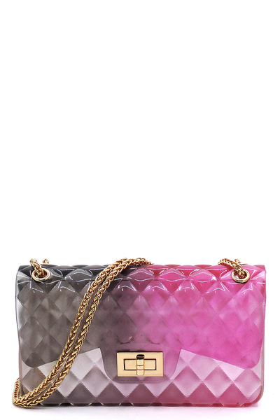 Quilt Embossed Multi Color Jelly Shoulder Bag