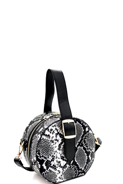Buckle Wrist Handle Accent Snake Print Round Shoulder Bag