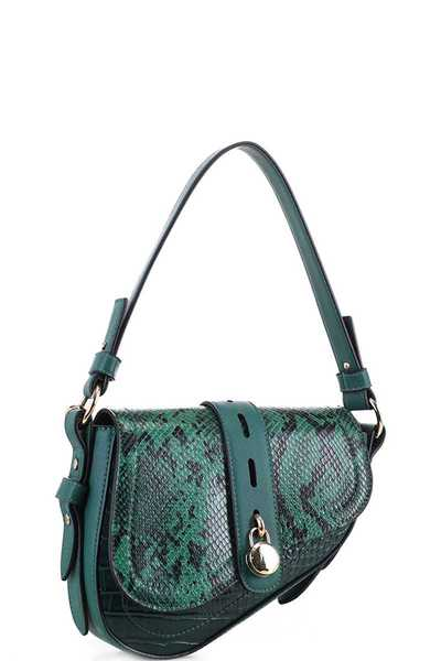 STYLISH TRENDY SNAKE SKIN FLAP SHOULDER BAG