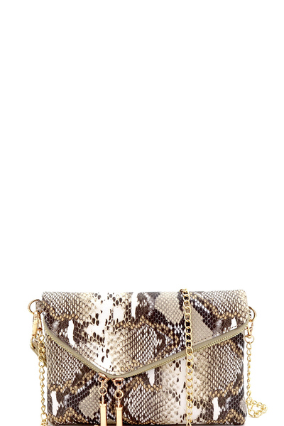 Snake Print Asymmetrical Flap Clutch Shoulder Bag