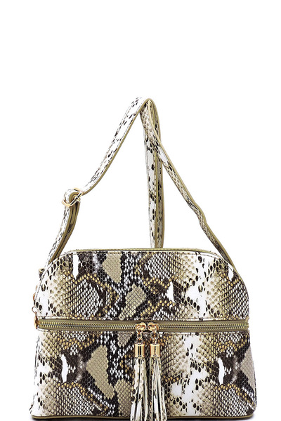 Python Snake Skin Zip Tassel Multi Compartment Crossbody Bag