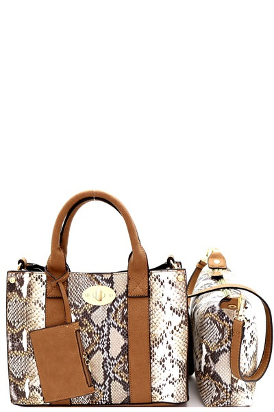 Snake Print Turn-lock Accent 2 In 1 Medium Satchel