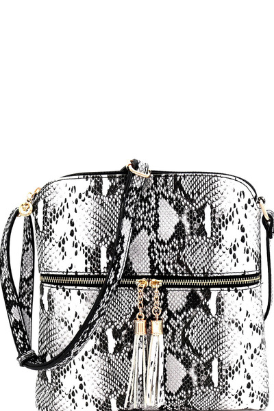 Snake Prt Tassel Zipper Accent Crossbody Messenger