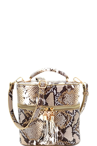 Snake Print Tassel Accent Top-Handle Medium Satchel