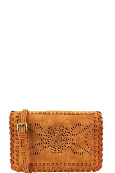 STREET LEVEL STYLISH CHIC WOVEN CLUTCH WITH LONG STRAP