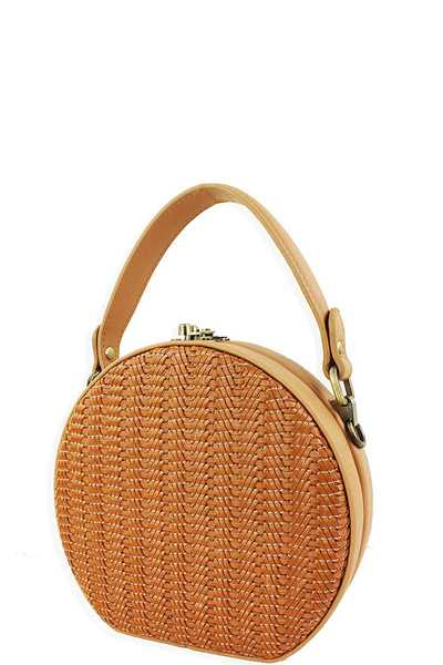 STREET LEVEL CUTE WOVEN ROUND CROSS BODY BAG