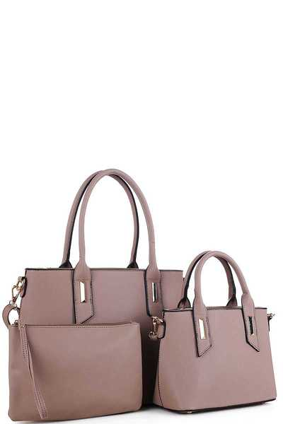 3IN1 TRENDY DESIGNER SATCHEL SET WITH LONG STRAP