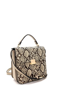 Snake Print 3-Compartment Pinch-Lock  Satchel